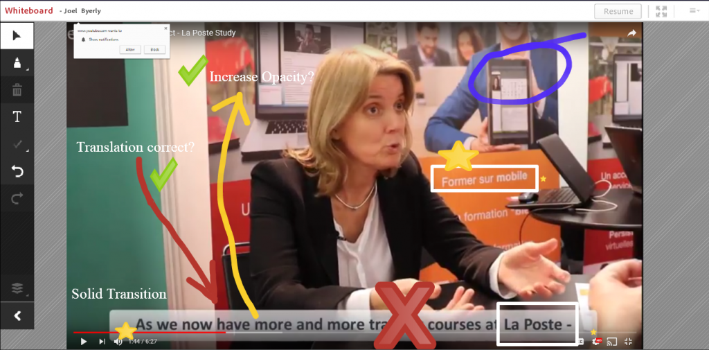 screen sharing a video in a cMOOC