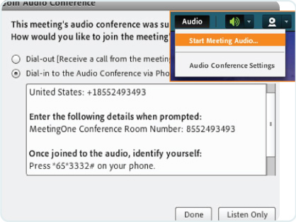 meeting audio integration in adobe connect - dial in or out prompt