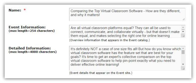 webinar marketing: event details fields