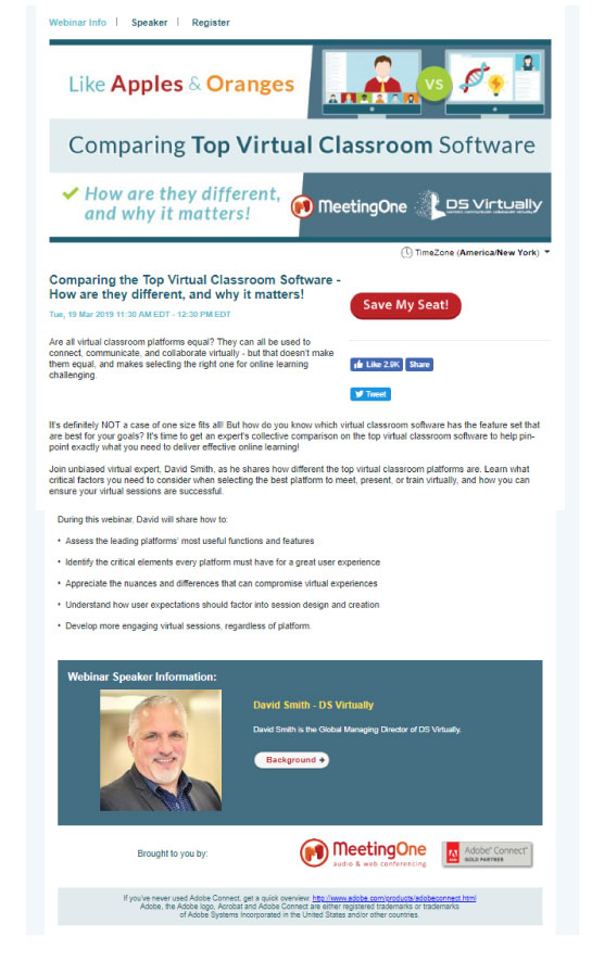 webinar marketing - landing page example