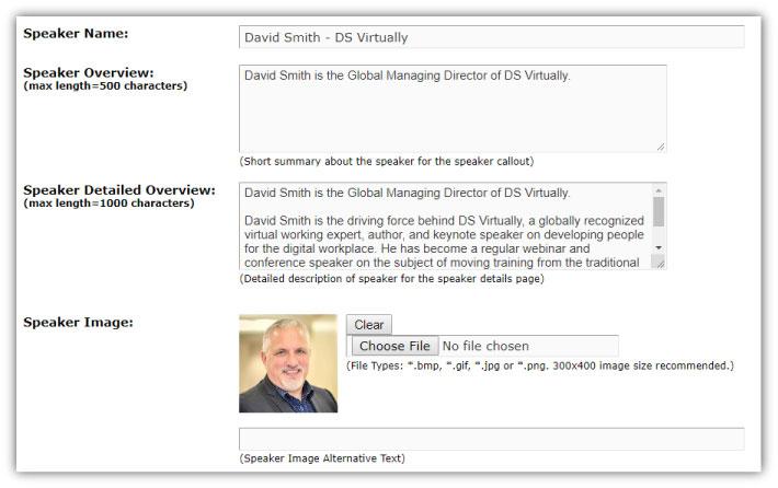 webinar marketing - speaker page details