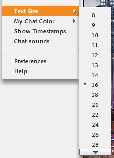 example of changing text size in adobe connect chat pod