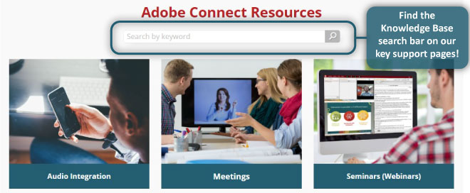search MeetingOne's knowledge base using the search bar